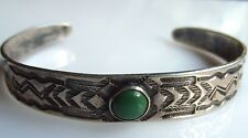 Navajo Stamped Silver Cuff Bracelet Old Vintage w Green Turquoise
