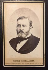 RARE ULYSSES S GRANT CABINET CARD PHOTO MEMORIAL / MOURNING PRESIDENT & GENERAL
