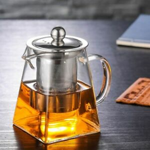 4 Size Good Clear Borosilicate Glass Teapot 304 Stainless Steel Infuser Strainer