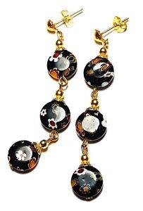 Very Long Gold Black Millefiori Earrings Glass Bead Drop Dangle Pierced Studs