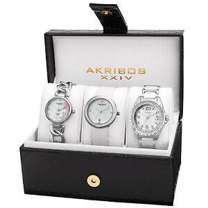 New Women's Akribos XXIV AK887SS Silver-tone Diamond Bracelet/Strap Watch Set