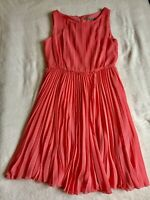 Eliza J Pleated Designer Dress Sz 8 Sleeveless Peach color Summer Formal A-line