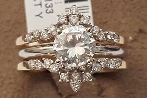 14k Yellow Gold Solitaire Enhancer Vintage Round Diamonds Ring Guard Wrap
