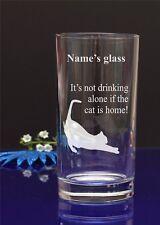 Grabado personalizado no es potable solo si el gato está casa! 88 De Vidrio