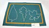 New Fall Autumn Fabric Placemats Green Gold White Embroidered Leaves THRESHOLD