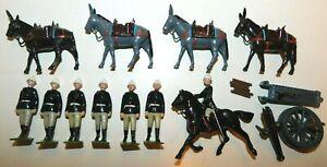 Old BRITAINS 1950s Lead, British Mountain Gun Battery w/Mules, 12 Piece Set #28
