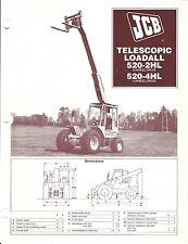 Equipment Brochure - Jcb - 520- 2Hl 4Hl - Telescopic Loadall - c1983 (E3731)