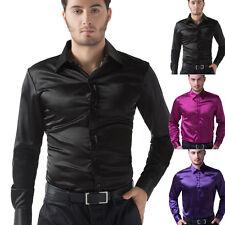 Business Mens Casual Stylish Formal Dress Shirts Slim Fit Silk-Like Satin Tops