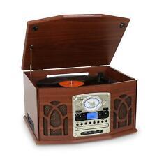 Mini chaine HiFi Bois vintage Platine tourne-disque lecteur vinyle CD K7 USB SD