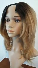12 INCH 100% HUMAN HAIR STRAIGHT U-PART HALF WIG OMBRE BROWN BLONDE MEDIUM #42