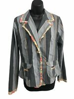 Neesh by DAR Womens Stripe Button Down Jacket Gray Floral Trim Size Large