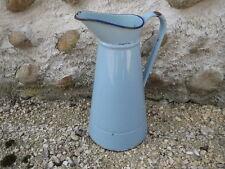 Ancien pichet à eau de toilette en métal émaillé vintage old enamel pitcher