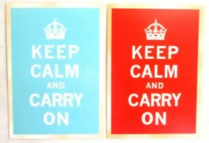 2 chrome repro postcards of Vintage 1950s Ad for Keeping Calm