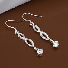 925 Sterling Silver Drop Dangle Hook Earrings Blue Zirconia L56