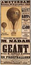 LE GEANT, 1865 Vintage Hot Air Balloon Reproduction Rolled CANVAS PRINT 17x31 in
