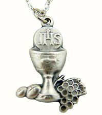 First Communion Gift Silver IHS Chalice with Grapes and Wheat Pendant Necklace