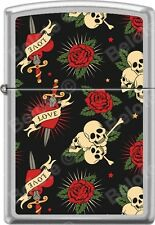 Zippo Tattoo Art Roses Hearts Love Dagger Skulls Satin Chrome WindProof Lighter