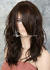 Striking Wavy Long HEAT SAFE WIG w. Bangs Medium Brown Auburn mix WBSY 6/30
