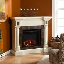 Carrington Faux Slate Convertible Electric Fireplace - Ivory Fe8749 Fireplace