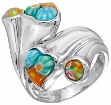 ALAN K. MULTICOLOR MURANO GLASS HEARTS AND ROUNDS DOUBLE HEADED & ST/SILVER RING