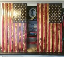 "37"" X 19"" Large Carved Stars Wooden American Flag Made in Tennessee Rustic Wood"