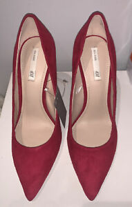 Brand New H&M Dark Pink Real Suede Court Shoes Size 5
