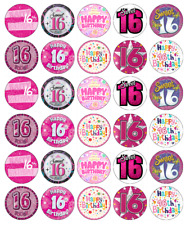 30x 16th Birthday Girl Cupcake Toppers Edible Wafer Paper Fairy Cake Toppers