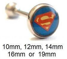 Superman Logo Tongue Bar - Flat Style - Choose: 10mm, 12mm, 14mm, 16mm, 19mm