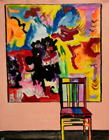 Abstract Vision Painting with Chair Abstract Acrylic Pop Art Painting on Canvas