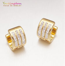 Small Clear Round Cubic Zircon Gold Plated Lady  Ear Jewelry Party Hoop Earrings