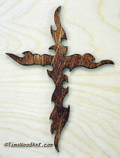 Gothic Cross, Handmade Baltic Birch Cross, Wall Hanging or Ornament, Item S4-8