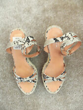 Coach HELEN Natural Printed Python Leather Platform Wedge Espadrille Sandal - 9M