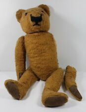 """Antique Teddy Bear 22"""" Jointed Hump Back Glass Eyes Leather Padded Paws Vintage"""