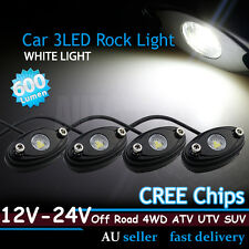 4x White Cree LED Rock Light Car UTE 4WD Camper Caravan Chassis Trail Rig Light