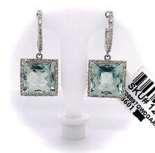 Green Amethyst & Diamond Drop Dangle Earrings 14k White Gold