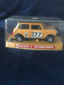 Vintage 70s Politoys S No 582 Mini Cooper Rare Yellow Rally  1:25 Made In Italy