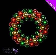 Navidad Puerta Dorado Verde Rojo Brillante bola bolas CORONA Decoración 34cm