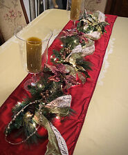 Christmas Garland Table Runner Swag Centerpeice With Lights, Ribbon, & Flowers