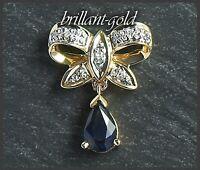 Diamant und Saphir Anhänger aus 585 Gold; blau; 0,48ct; Damenschmuck 14K Gold