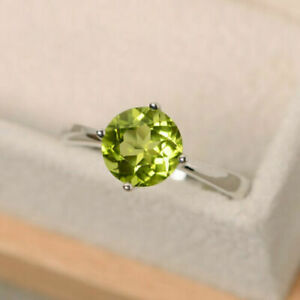 14K White Gold Finish 2 CT Round Cut Peridot Promise Solitaire Gemstone Ring