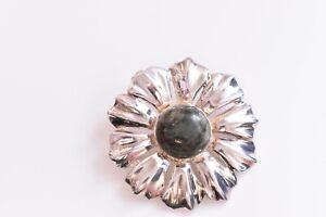 "ESTATE Vintage Sterling Silver Ireland Stone Brooch 1.75"""