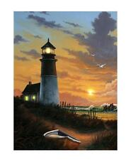 LED Lighted Canvas Wall Art Lighthouse Design 16 x 12 Gift Sunset Nautical New