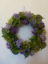 Gisela Graham Fabric & Twig Purple Hydrangea & Foliage Wreath/Table Centre 40cm