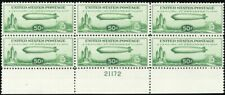 C18, Mint VF NH/LH Plate Block of Six Stamps Cat $475.00 - Stuart Katz