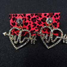 Betsey Johnson rare rhinestone heart dangle earrings women fashion Jewelry