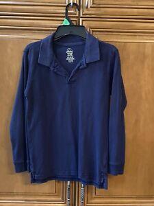 """Boys LARGE 10/12 Navy cotton polo L/S top shirt school Uniform 22"""" L chest 34"""""""