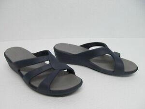 Crocs Sanrah Dual Comfort Navy Wedge Slide Sandals Size Women's 9