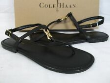 Cole Haan Size 6 M Ally Black Leather T-Strap Sandals New Womens Shoes