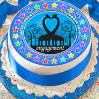ENGAGEMENT BLUE 7.5 INCH PRECUT EDIBLE CAKE TOPPER DECORATION