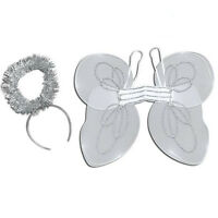 CHILDREN #CHRISTMAS KIT ANGEL SET WHITE WINGS HALO FANCY PARTY ACCESSORY